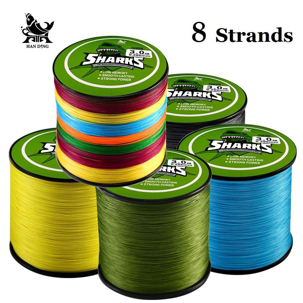 Handing 500M 8 Strands Multifilament Super Strong 8 Braided Pe Fishing Line-Handing Fishing Tackle Store-Yellow-1.0-Bargain Bait Box