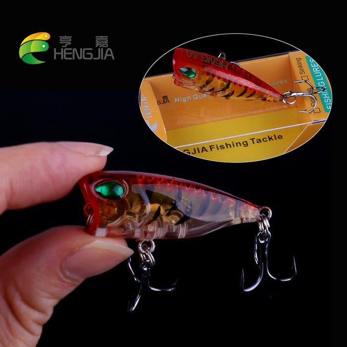Hard Plastic Top Water Popper S Floating Swimbaits 4Cm .3.2G 10#Hooks-Top Water Baits-Bargain Bait Box-As the picture-Bargain Bait Box
