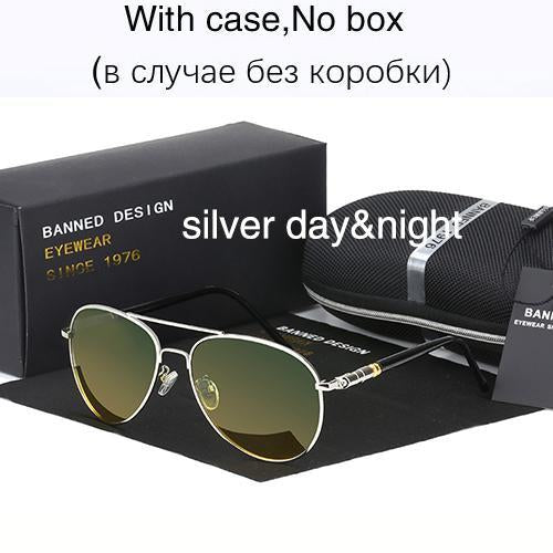 Hd Polarized Sunglasses For Men Aviator Sunglasses Men For Driving Luxury-Polarized Sunglasses-Bargain Bait Box-silver day night-Bargain Bait Box