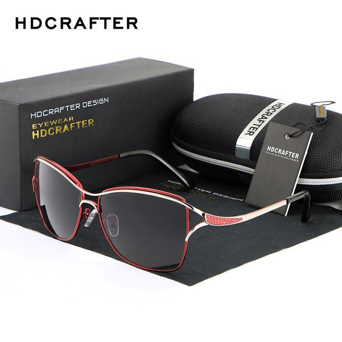 Hdcrafter Cat Eye Women Sunglasses Metal Frame Polarized Glasses Women'S Gafas-Polarized Sunglasses-Bargain Bait Box-Black-China-Bargain Bait Box