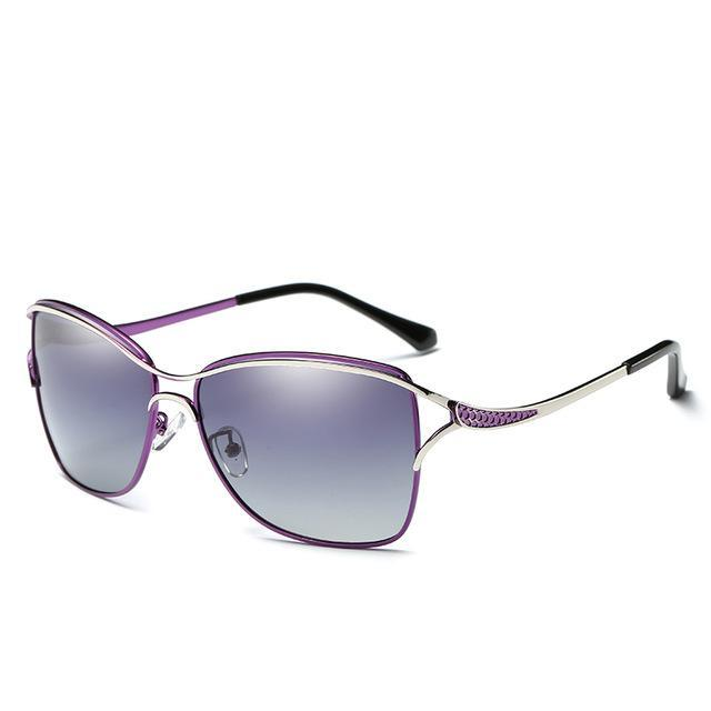 Hdcrafter Cat Eye Women Sunglasses Metal Frame Polarized Glasses Women'S Gafas-Polarized Sunglasses-Bargain Bait Box-Purple-China-Bargain Bait Box