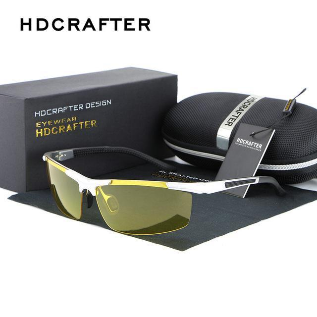 Hdcrafter Men Polarized Aluminum-Magnesium Day Night Driver Sun Glasses Top Male-Polarized Sunglasses-Bargain Bait Box-Silver-Bargain Bait Box