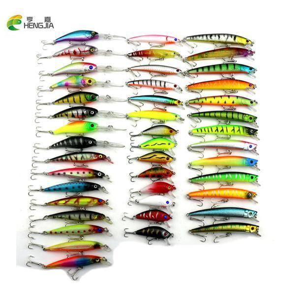 Hengjia 43 Pcs Mixed Fishing Lure Set Artificial Fishing Lure Kit Wobblers-HENGJIA official store-Bargain Bait Box