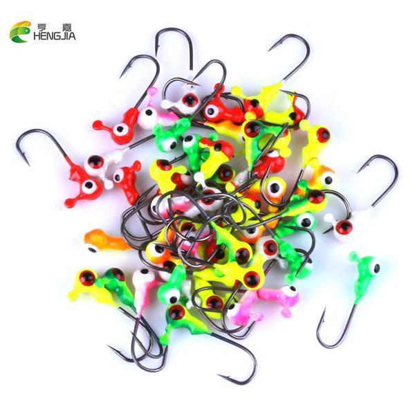 Hengjia 50Pcs/Lot Winter Ice Fishing Lure Mini Metal Lead Head Hook Bait Jigging-HENGJIA official store-Bargain Bait Box