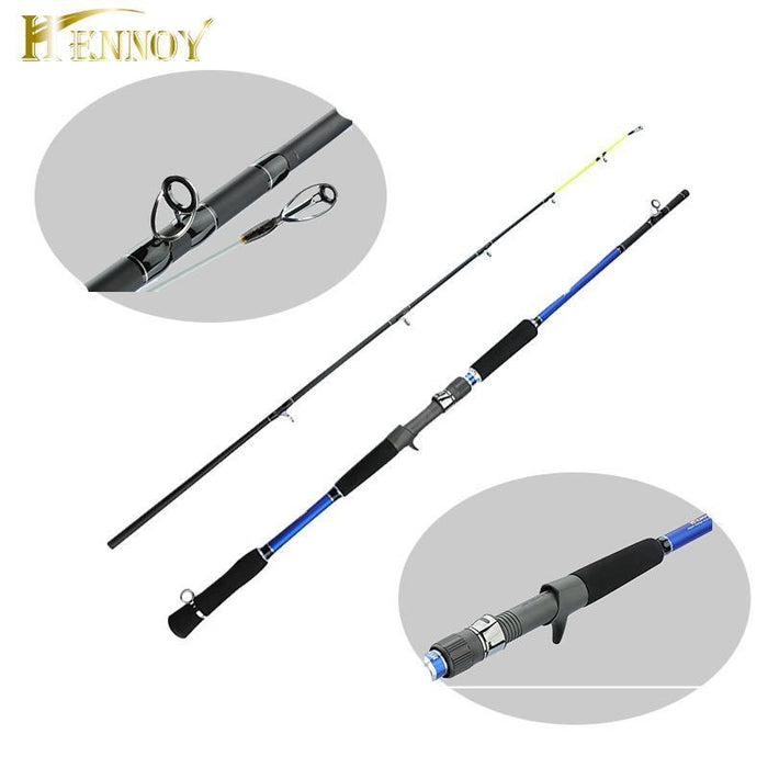 Hennoy -2 Section Carbon Spinning Fishing Rod 1 8M Boat Rod Saltwater  Fishing