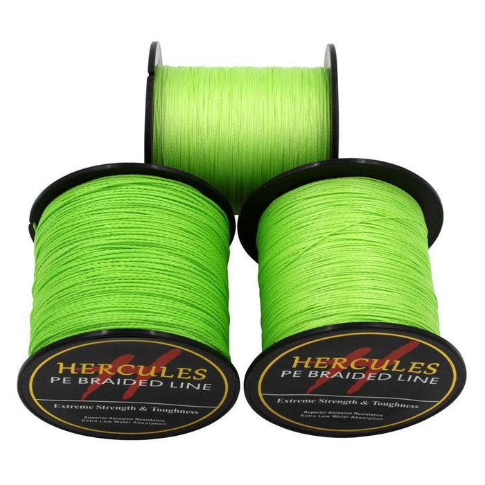 Hercules Pe Braided Fishing Line Fluorescent Green Sea Fishing Cord Super Strong-Hercules Pro store-100 Meters-0.2-Bargain Bait Box