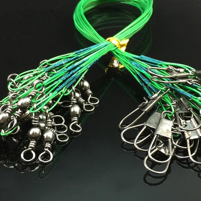 High Carbon Stainless Steel Fishing Lure Trace Wire 15Cm 23Cm 30Cm Anti-Bite Sub-leo Official Store-Green15cm-Bargain Bait Box