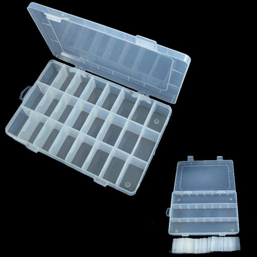 High Quality 24 Compartment Fishing Lures Tackle Hooks Baits Storage Plastic Box-Footprints Store-Bargain Bait Box