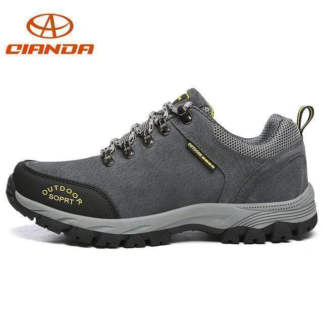 High Quality Men Hiking Shoes Autumn Winter Big Size Us7 11.5 Wear Resistant-Hiking Shoes-QIANDA Official Store-Gray Hiking Shoes-7-Bargain Bait Box