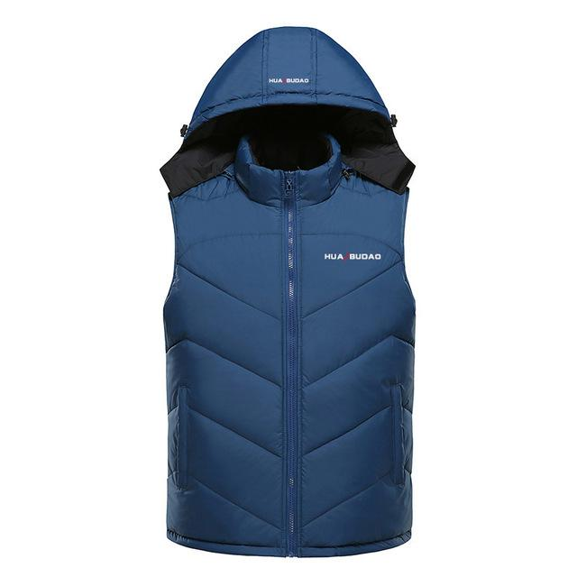 Hooded Vest Thick Warm Men Sleeveless Waist Street Hoodie Style Male 4Xl-Vests-Bargain Bait Box-Navy blue-L-Bargain Bait Box
