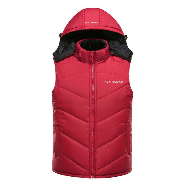 Hooded Vest Thick Warm Men Sleeveless Waist Street Hoodie Style Male 4Xl-Vests-Bargain Bait Box-red-L-Bargain Bait Box