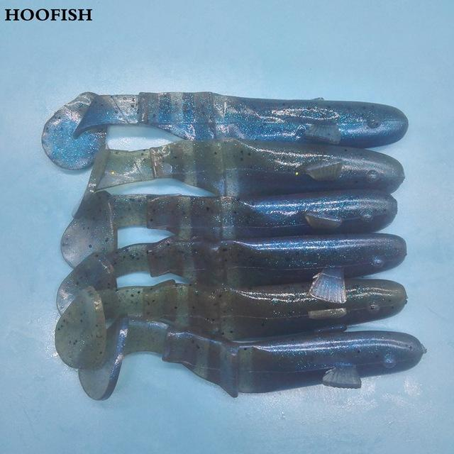 Hoofish 6Pcs/Lot Section T Tail Fish Soft 10G/10Cm Soft-Worms & Grubs-Bargain Bait Box-BLUE-Bargain Bait Box