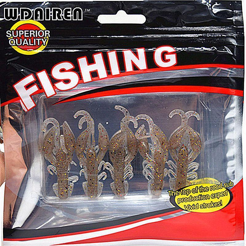 Hot Sell 5 Pcs/Lot Plastice Soft Fishing Lure 50Mm 2.2G Floating Salt Smell-WDAIREN KANNI Store-A-Bargain Bait Box
