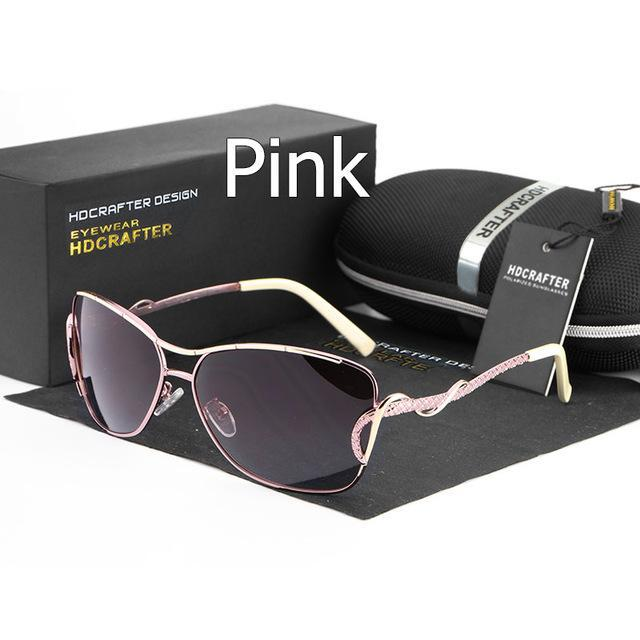 Hot Sell Women'S Cat Eye Sunglasses Metal Frame Polarized Lens Uv400 Female-HDCRAFTER Classic Store-pink-Bargain Bait Box