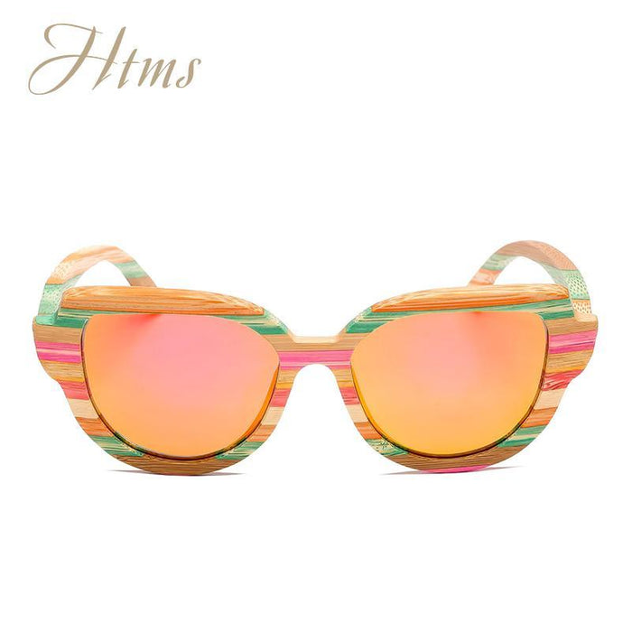 Htms Arrival Wood Cat Eye Polarized Sunglass Women Brand Designer-Sunglasses-htms Official Store-C1 Colorful Pink-Bargain Bait Box