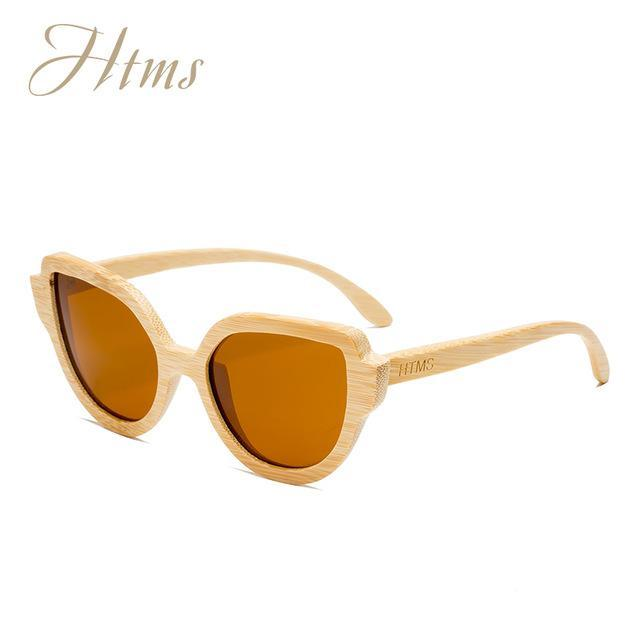 Htms Arrival Wood Cat Eye Polarized Sunglass Women Brand Designer-Sunglasses-htms Official Store-C5 Brown-Bargain Bait Box