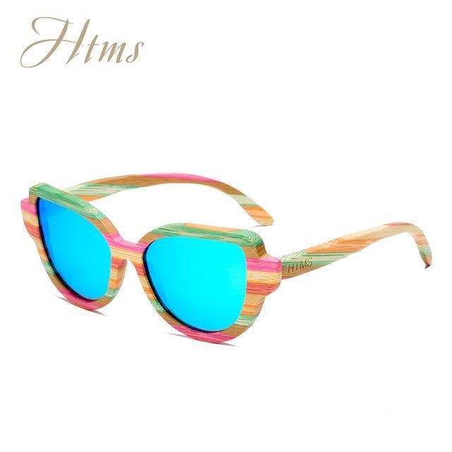 Htms Arrival Wood Cat Eye Polarized Sunglass Women Brand Designer-Sunglasses-htms Official Store-C6 Blue-Bargain Bait Box
