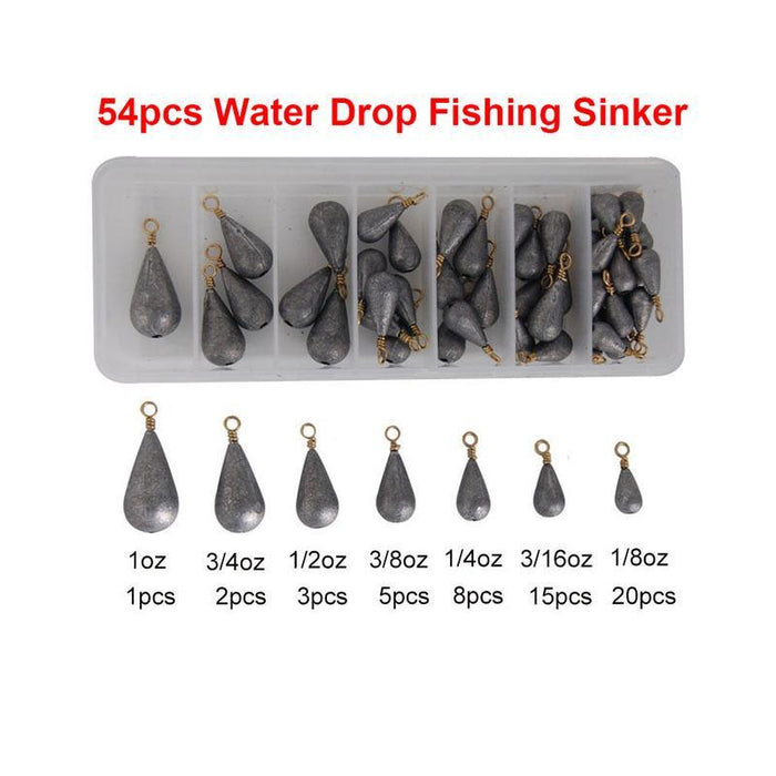 Hyaena 54Pcs Lead Fishing Sinker With Ring Fishing Water Drop Shaped Weights-Dropshot Weights-Bargain Bait Box-Bargain Bait Box