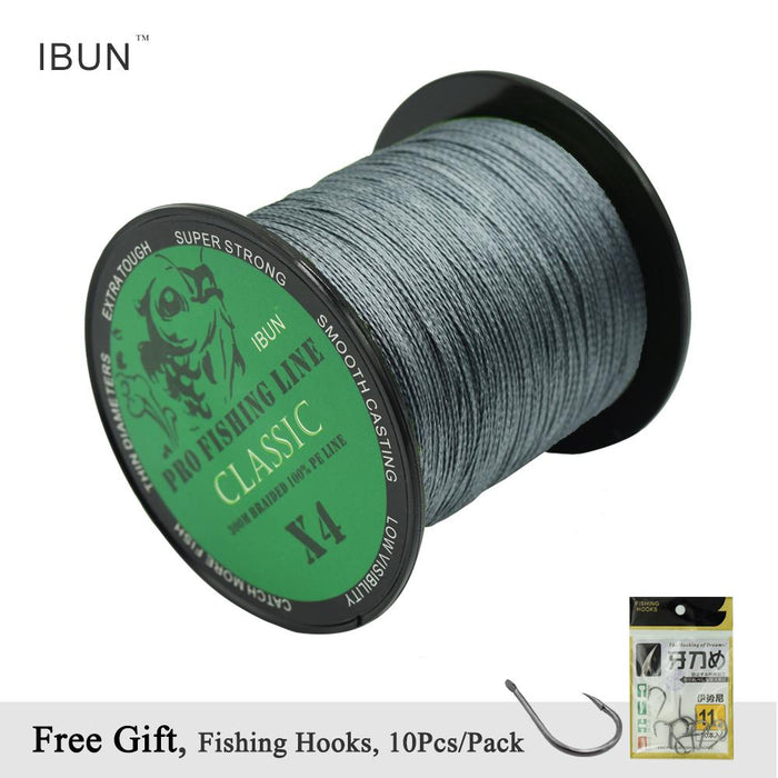 Ibun 300M Grey Braided Fishing Line 4 Strands 100% Pe Wire Super Tough Fish Rope-IBUN Fishing Store-0.4-Bargain Bait Box