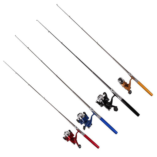 Ice Fishing Pocket Pen Shape Mini Aluminum Alloy Fishing Rod Pole+ Mini-Ice Fishing Rod & Reel Combos-Bargain Bait Box-Yellow-Bargain Bait Box