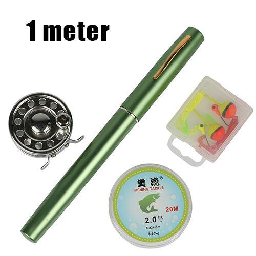Ice Fishing Rod Combo Set 1.0M/1.4M Pen Shape Rod +Ice Fishing Reel +20M Fishing-Ice Fishing Rod & Reel Combos-Bargain Bait Box-Green 100cm-Bargain Bait Box