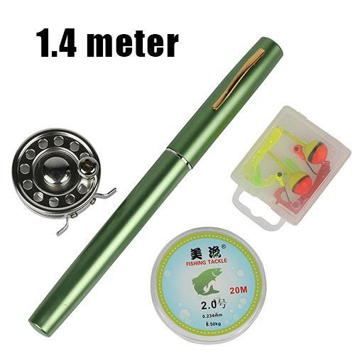 Ice Fishing Rod Combo Set 1.0M/1.4M Pen Shape Rod +Ice Fishing Reel +20M Fishing-Ice Fishing Rod & Reel Combos-Bargain Bait Box-Green 140cm-Bargain Bait Box