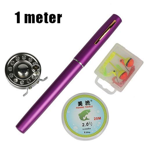 Ice Fishing Rod Combo Set 1.0M/1.4M Pen Shape Rod +Ice Fishing Reel +20M Fishing-Ice Fishing Rod & Reel Combos-Bargain Bait Box-Purple 100cm-Bargain Bait Box