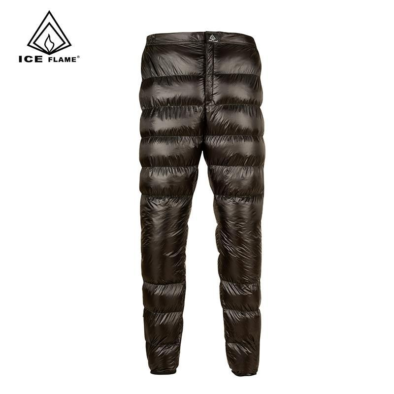 Ice Flame Lightweight Winter 800Pf 90% White Goose Down Pants Trousers Bottoms-Hiking Pants-YOUGLE store-Black-S-Bargain Bait Box