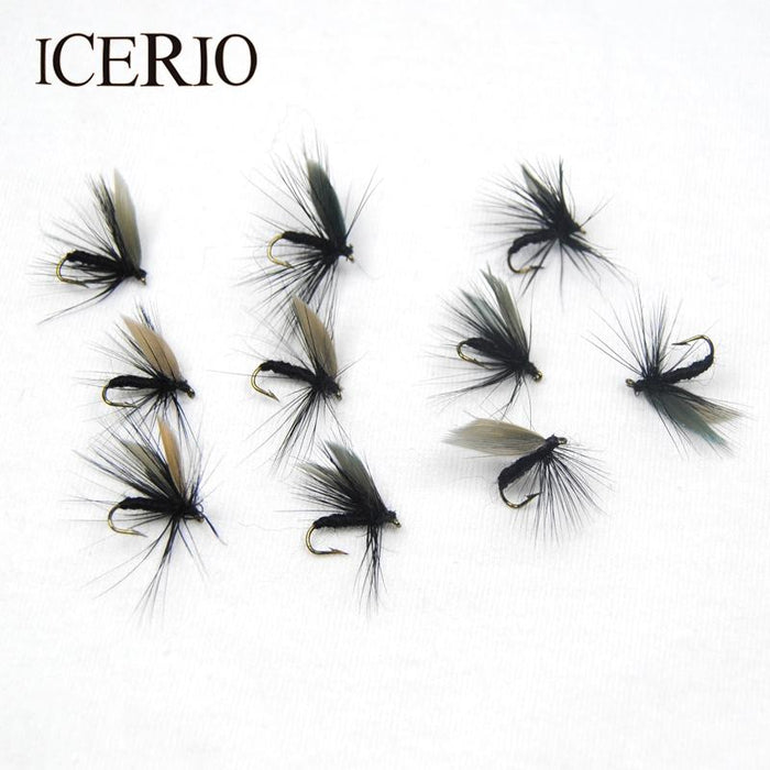 Icerio 10Pcs Black Dry Flies Fly Trout Fishing Lures #12-ICERIO Store-Bargain Bait Box