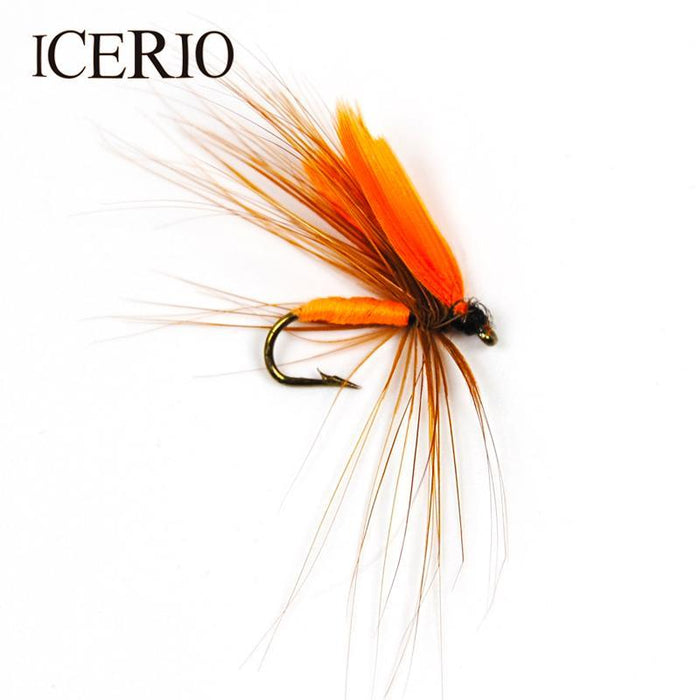 Icerio 6Pcs Orange Wing Quil Flies Trout Fly Fishing Lures #12-ICERIO Store-Bargain Bait Box