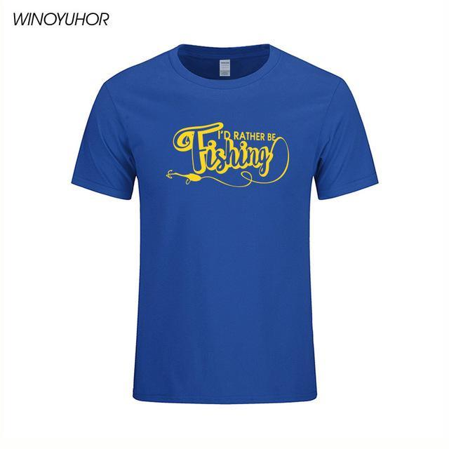 I'D Rather Be Fishinger Funny Printed T-Shirts Men Casual Short Sleeve Cotton-Shirts-Bargain Bait Box-Blue-S-Bargain Bait Box
