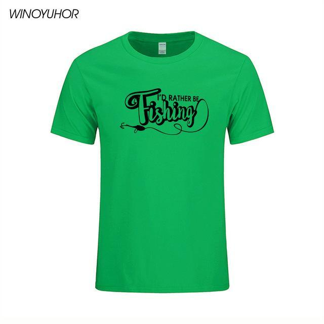 I'D Rather Be Fishinger Funny Printed T-Shirts Men Casual Short Sleeve Cotton-Shirts-Bargain Bait Box-Green 1-S-Bargain Bait Box