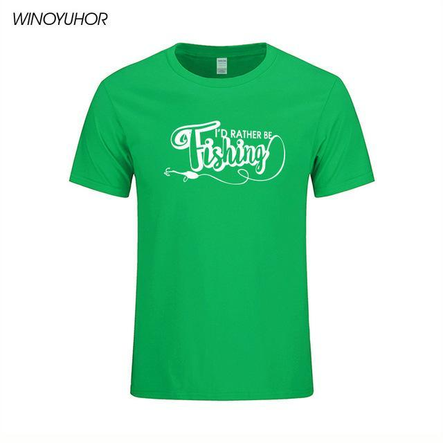 I'D Rather Be Fishinger Funny Printed T-Shirts Men Casual Short Sleeve Cotton-Shirts-Bargain Bait Box-Green-S-Bargain Bait Box
