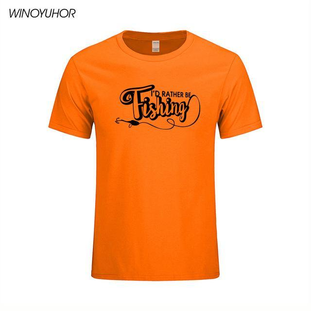 I'D Rather Be Fishinger Funny Printed T-Shirts Men Casual Short Sleeve Cotton-Shirts-Bargain Bait Box-Orange-S-Bargain Bait Box