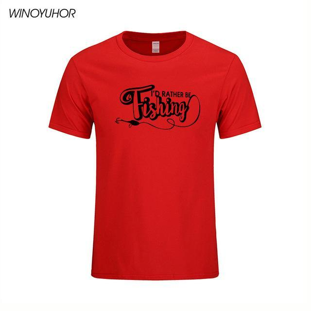 I'D Rather Be Fishinger Funny Printed T-Shirts Men Casual Short Sleeve Cotton-Shirts-Bargain Bait Box-Red 1-S-Bargain Bait Box