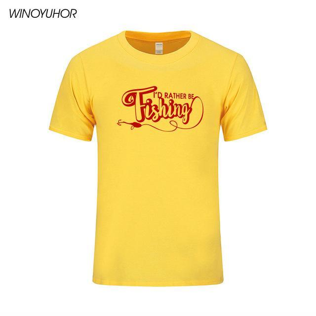 I'D Rather Be Fishinger Funny Printed T-Shirts Men Casual Short Sleeve Cotton-Shirts-Bargain Bait Box-Yellow-S-Bargain Bait Box