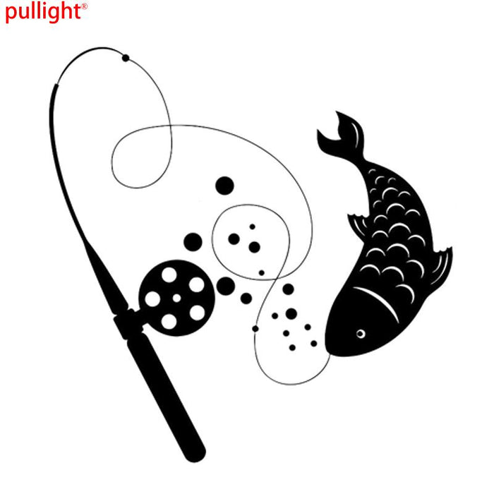 Interesting Fishing Rod Animal Catch Vinyl Stickers Decal-Fishing Decals-Bargain Bait Box-Black-Bargain Bait Box
