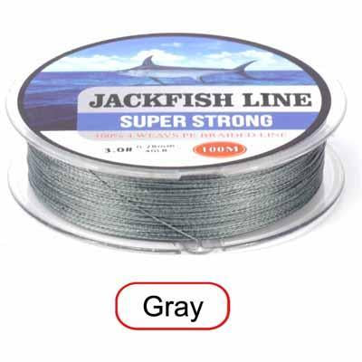 Jackfish 100M 4 Strand Pe Braided Fishing Line With Gift 10-80Lb Pe Fishing Line-JACKFISH Official Store-Dark Grey-0.6-Bargain Bait Box