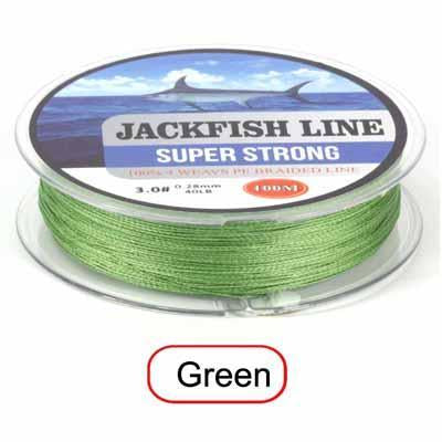 Jackfish 100M 4 Strand Pe Braided Fishing Line With Gift 10-80Lb Pe Fishing Line-JACKFISH Official Store-Green-0.6-Bargain Bait Box