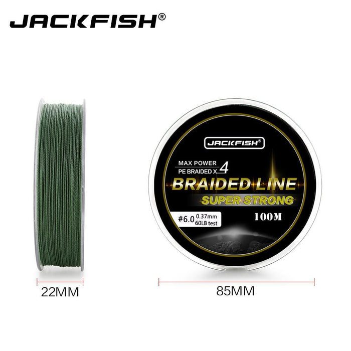 Jackfish 100M 4 Strand Pe Braided Fishing Line With Gift 10-80Lb Pe Fishing Line-JACKFISH Official Store-White-0.6-Bargain Bait Box