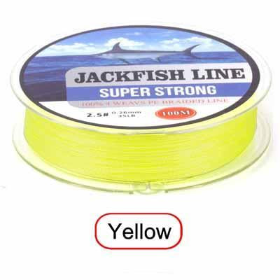 Jackfish 100M 4 Strand Pe Braided Fishing Line With Gift 10-80Lb Pe Fishing Line-JACKFISH Official Store-Yellow-0.6-Bargain Bait Box