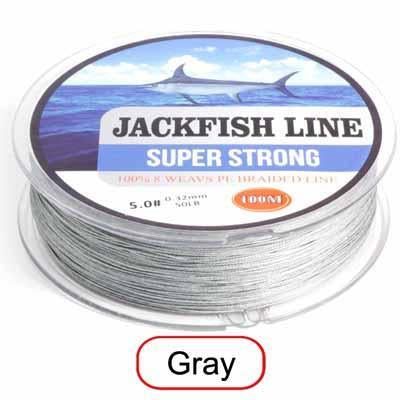 Jackfish 8 Strand 100M Pe Braided Fishing Line Super Strong Fishing Line With-JACKFISH Official Store-Dark Grey-2.0-Bargain Bait Box
