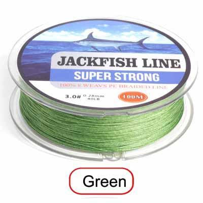 Jackfish 8 Strand 100M Pe Braided Fishing Line Super Strong Fishing Line With-JACKFISH Official Store-Green-2.0-Bargain Bait Box