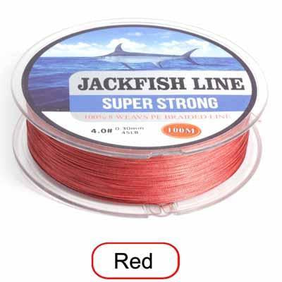 Jackfish 8 Strand 100M Pe Braided Fishing Line Super Strong Fishing Line With-JACKFISH Official Store-Red-2.0-Bargain Bait Box