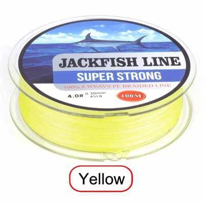Jackfish 8 Strand 100M Pe Braided Fishing Line Super Strong Fishing Line With-JACKFISH Official Store-Yellow-2.0-Bargain Bait Box