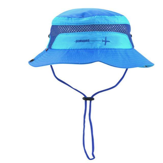 [Jamont] Polyester Kids Bucket Hat With String Kids Boy Girl Wide Brim Sun Hat-Hats-Bargain Bait Box-Blue-Bargain Bait Box