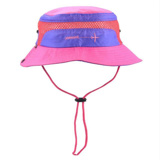 [Jamont] Polyester Kids Bucket Hat With String Kids Boy Girl Wide Brim Sun Hat-Hats-Bargain Bait Box-rose-Bargain Bait Box