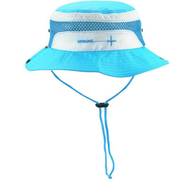 [Jamont] Polyester Kids Bucket Hat With String Kids Boy Girl Wide Brim Sun Hat-Hats-Bargain Bait Box-Sky Blue-Bargain Bait Box