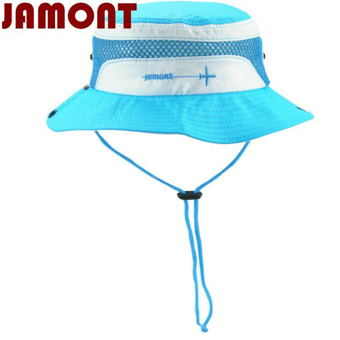 [Jamont] Polyester Kids Bucket Hat With String Kids Boy Girl Wide Brim Sun Hat-Hats-Bargain Bait Box-White-Bargain Bait Box