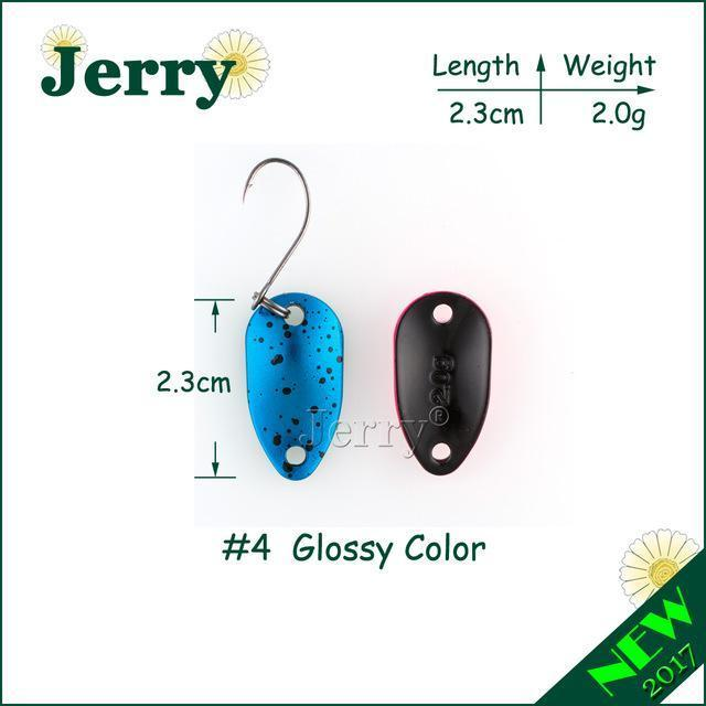 Jerry 1Pc 2G 3.5G 4.5G Fishing Spoon Lure Mini Two-Side Painting Glossy Color-Jerry Fishing Tackle-2g blue-Bargain Bait Box